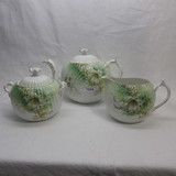 RS Prussia  floral 3 pc teaset w/ lily decor