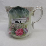 RS Prussia point clover mold shaving mug w/ glass bowl flowers
