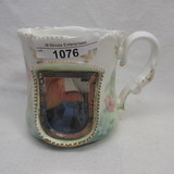 UM RS Prussia shaving mug w/ mirror clematis flowers on side