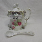 RS Prussia point clover mold mustard pot w/ roses
