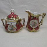 ES Germany classical scene cream and sugar set