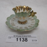 UM RS Prussia  MINIATURE cup and saucer w/ butterfly handle