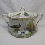 RS Prussia satin Peacock in Birch tree cracker jar with Turkey and Birch on