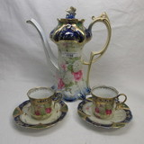 SUPER RS Prussia point & clover mold demitasse pot w/ 2 cup and saucers in