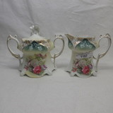 RS Prussia point & clover mold cream / sugar set w/ glass bowl flowers deco
