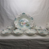 RS Prussia 7pc icicle mold floral berry set w/ pond lily decor.