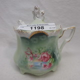 RS Prussia medallion mold floral mustard pot
