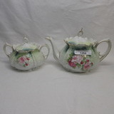 RS Prussia  Ripple Mold floral teapot and sugar