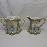 RS Prussia ribbon & jewel floral cream and sugar set with roses decor. Opal