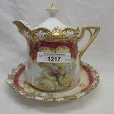 UM RS Prussia stipple floral syrup pitcher w/ underplate and yellow roses.