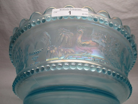 "Nwood 9"" ice blue Peacock at Fountain master berry bowl"
