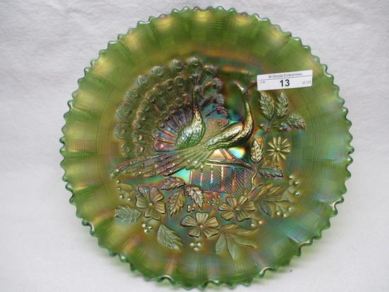 "Nwood 9"" Green Peacocks PCE bowl w/ BWB RARE BOWL!"