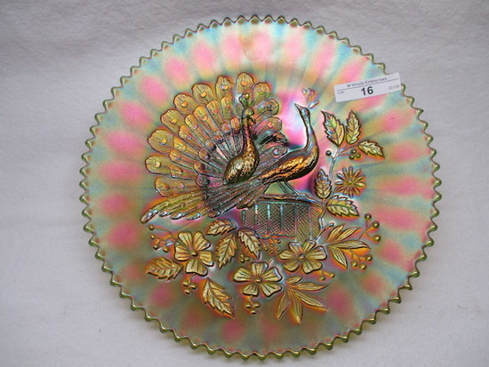 "Nwood 9""  green Peacocks plate. WOW!"