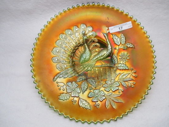 "Nwood 9"" green Peacocks plate w/ plain back small open point. VHTF!"