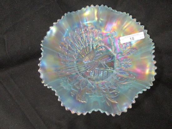 """Nwood 8.5"""" ice blue Peacocks ruffled bowl- Scarce"""