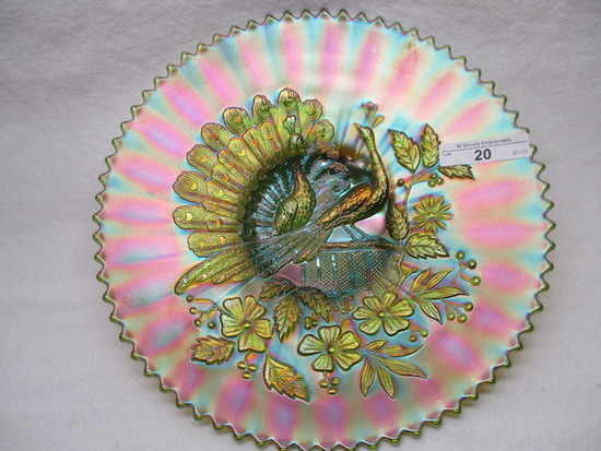 "Nwood 9"" emerald green Peacocks plate. A SUPER EXAMPLE!"