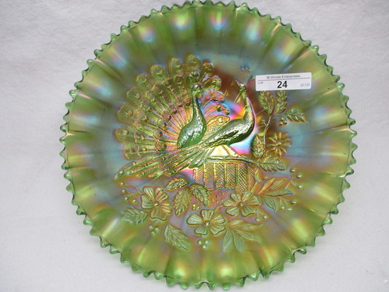 "Nwood 9"" emerald Green Peacocks PCE bowl- Another stunner!"