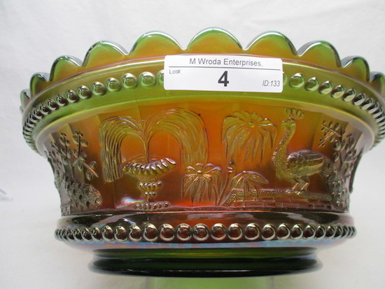 "Nwood 9"" elec green Peacock at Fountain master berry bowl. BEAUTIFUL!"