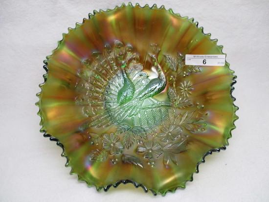 "Nwood 8"" green Peacocks ruffled bowl."