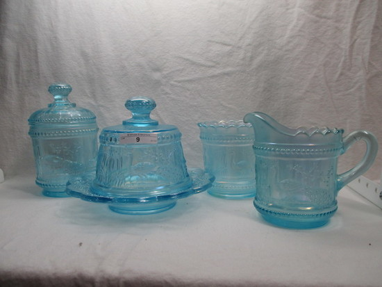 Nwood Peacock at Fountain Ice blue complete table set- RARE