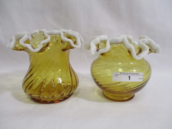 """2 Fenton Snow crest 4"""" vases"""