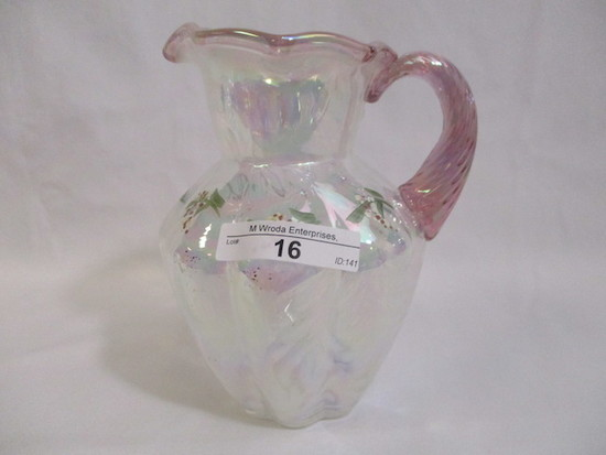 Fenton decorated syrup pitcher