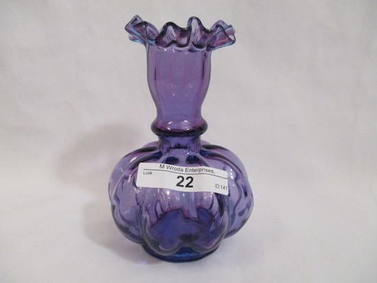 "Fenton jamestown blue 4"" vase"