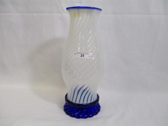 Fenton blue ridge hurricane lamp