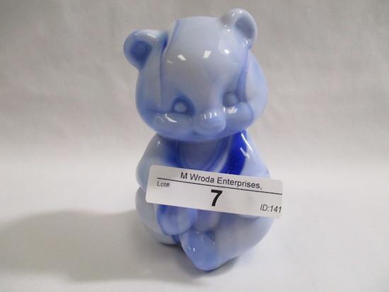 Fenton blue slag sitting bear