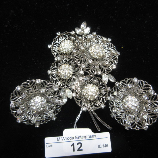 Signed Vendame Earrings and Brooch
