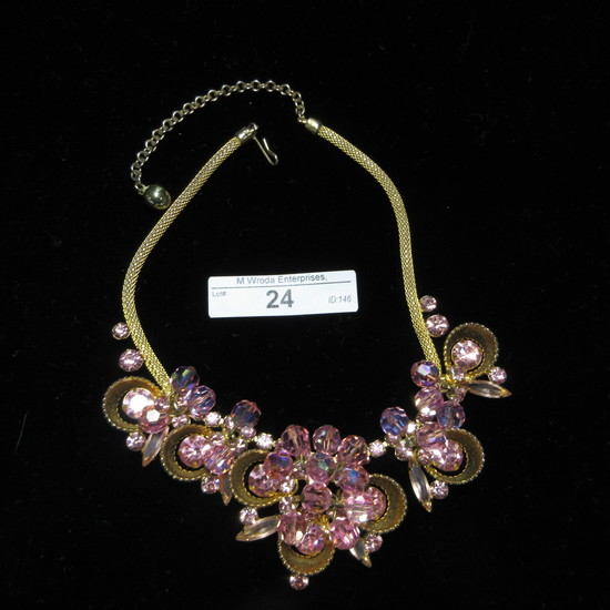 Rhinestone and Goldtone Choker Necklace