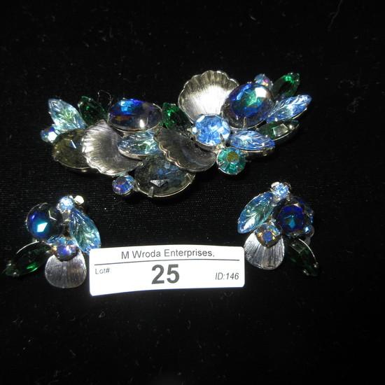 Rhinestone Earrings and Brooch