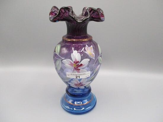 "Fenton 8.5"" HP Mulberry Ruffled Top Vase"