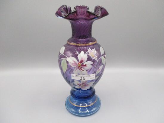 "Fenton 8.5"" HP Mulberry Ruffle Top Vase"