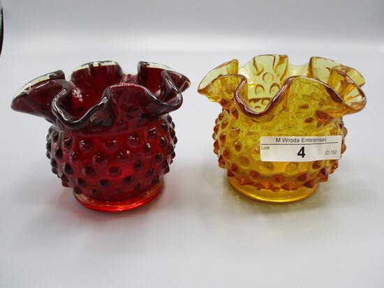 Red Hobnail Rosebowl and Amber Hobnail Rosebowl