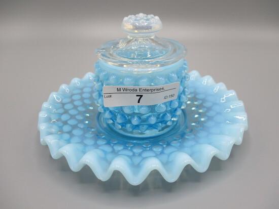 Blue Opal Hobnail Mayonaise set - no spoon