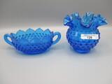 2 pcs Fenton Blue Hobnail as shown