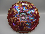 Fenton Red Carnival Holly Plate
