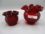 2 Fenton Red Hobnail Rosebowls