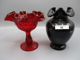 Fenton Red Compote and Ebony Vase