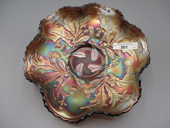 "Fenton 8.5"" purple Thistle ruffled bowl"