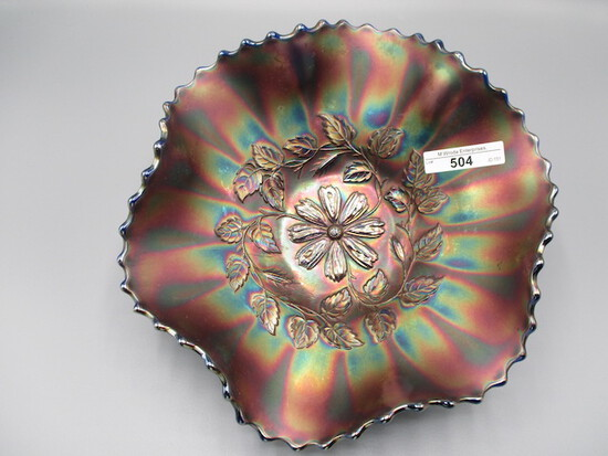 "Fenton 9"" blue Cosmos Vt. ruffled bowl"