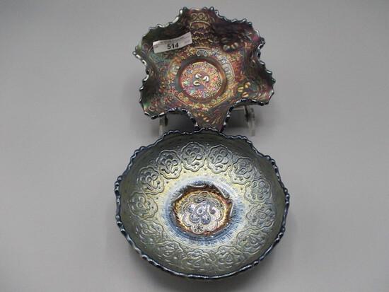 "Fenton 5"" blue Cherry Chain ruffled bowl & 6"" blue Persian Medallion bowl"