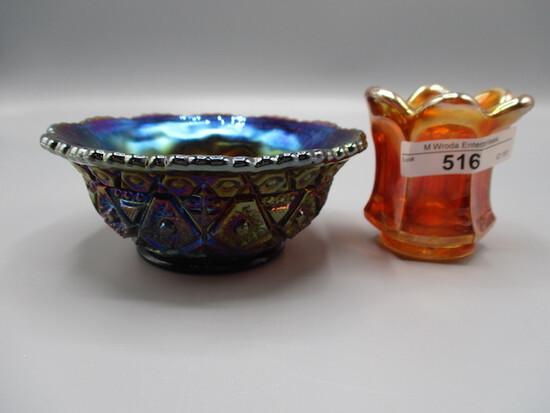 2 pcs. Imperial Carnival glass, mari. Flute toothpick- chip & purple Diamon