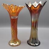 2 Fenton Carnival Vases-mari. Knotted beads, purple Long Thumbprint