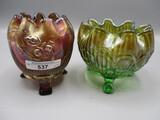 2 Nwood  rosebowls: green Beaded Cable & purple Fine Cut & Roses