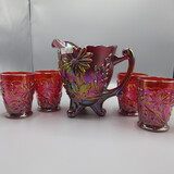 Fenton red Carnival floral water set