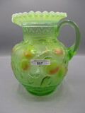 Fenton vaseline hand painted Apple Tree water pitcher