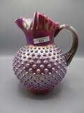 Fenton iridized plum opal Hobnail water pitcher