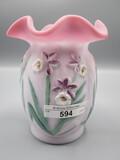 Fenton satin rosalene hand painted daffodil vase